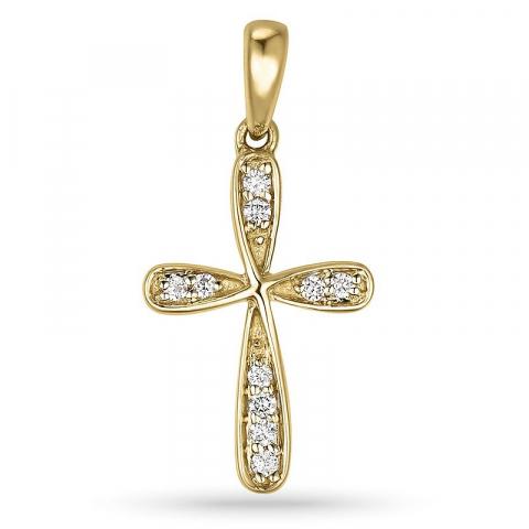 Kruis hanger in 14 caraat goud 0,08 ct