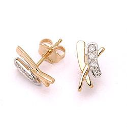 Briljant oorbellen in 14 karaat goud en witgoud met diamanten