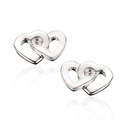 Dubbel Scrouples hart oorbellen in zilver