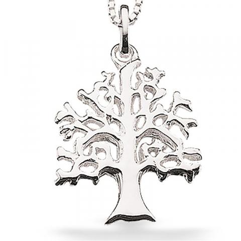 13 mm scrouples boom van het leven hanger met ketting in zilver