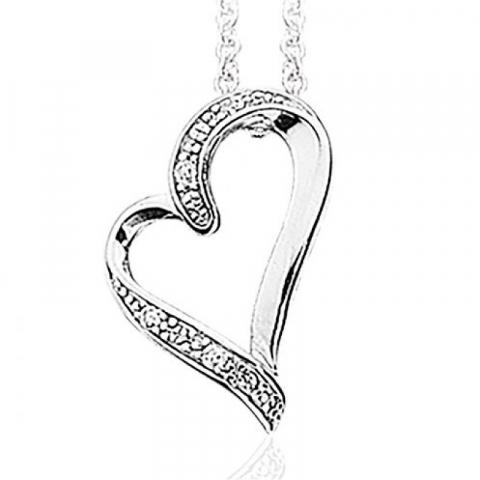 Mooi Scrouples hart hanger met ketting in zilver witte zirkonen
