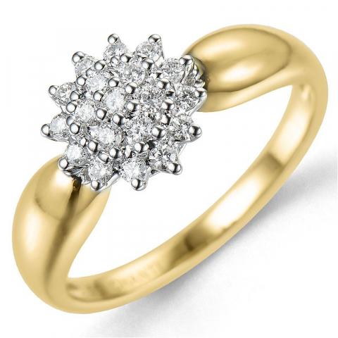 Diamant ring in 14 karaat goud-en witgoud 0,27 ct