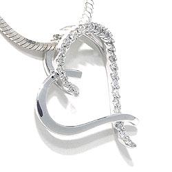 Hart diamanten hanger in 14 caraat witgoud 0,19 ct