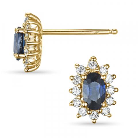 Saffier rozetoorbel in 14 karaat goud met diamanten en saffier