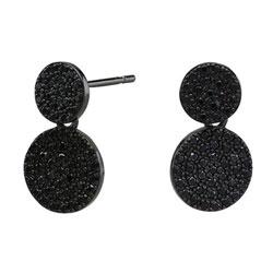 Leuke Joanli Nor rond oorbellen in zwart gerhodineerd zilver zwart zirkoon