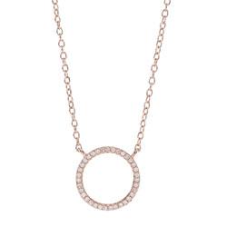 13 mm Joanli Nor rond hanger met ketting in zilver met een roze coating witte zirkoon