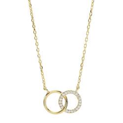 Elegant Joanli Nor cirkel hanger met ketting in verguld sterlingzilver witte zirkoon