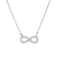 Mooi Joanli Nor infinity hanger met ketting in zilver witte zirkoon