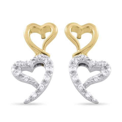 Witgoud briljant oorbellen in 14 karaat goud en witgoud met diamanten