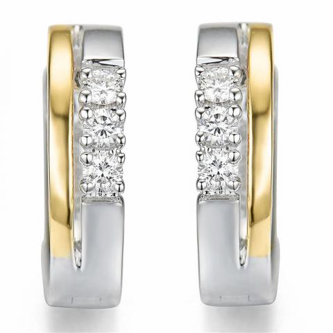 13 mm diamant oorbellen in 14 karaat goud en witgoud met diamanten