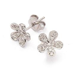 Briljant oorbellen in 14 karaat witgoud met diamanten