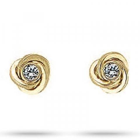 Elegante Aagaard knoop zirkoon oorbellen in 8 karaat goud witte zirkonen
