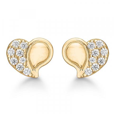 Elegante Aagaard hart zirkoon oorbellen in 8 karaat goud witte zirkonen