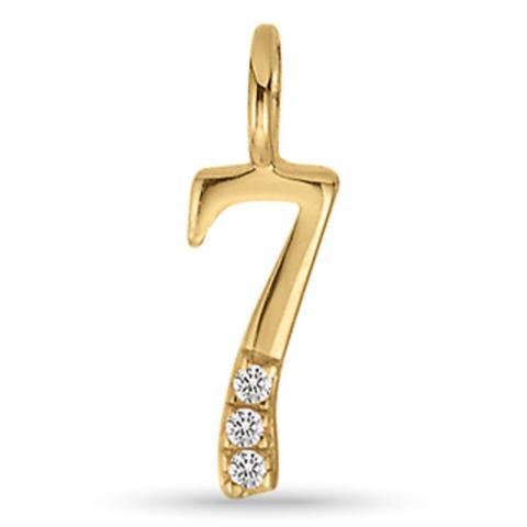 moderne Aagaard het getal 7 hanger in verguld sterlingzilver witte zirkoon