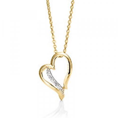 Elegant Aagaard hart hanger in 8 karaat goud met vergulde zilveren ketting witte zirkoon