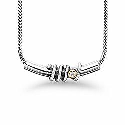 Aagaard hanger met ketting in zilver met verguld sterlingzilver witte zirkoon