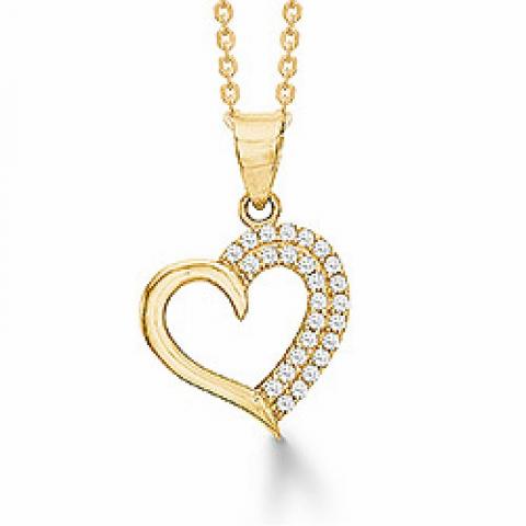 Mooi aagaard hart hanger in 8 karaat goud met vergulde zilveren ketting witte zirkoon