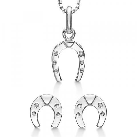 schattige Støvring Design hoefijzer sieraden set in zilver