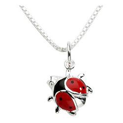 schattig Støvring Design lieveheersbeestje hanger met ketting in zilver veelkleurig emaille