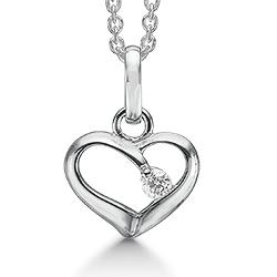 Støvring Design hart hanger met ketting in gerodineerd zilver witte zirkoon