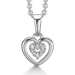 Støvring Design hart ketting met hanger in gerodineerd zilver witte zirkoon