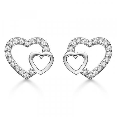 dubbel Støvring Design hart oorbellen in zilver witte zirkoon