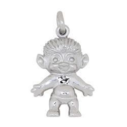 Schattig Siersbøl trol hanger in zilver