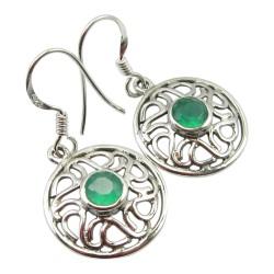 Mooi abstract groene onyx oorbellen in zilver