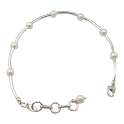 Rond witte parel armband in zilver