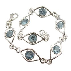 Vierkant blauwe topaas armband in zilver