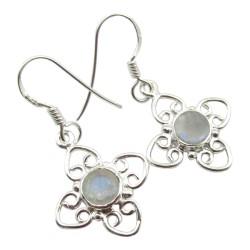 Witte maansteen oorbellen in zilver