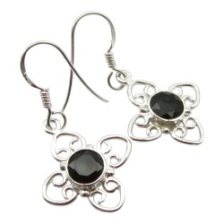 Zwart onyx oorbellen in zilver