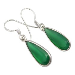 Groene onyx oorbellen in zilver