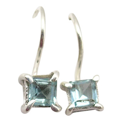 Vierkant topaas oorbellen in zilver
