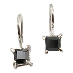 Vierkant onyx oorbellen in zilver