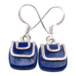 Groot vierkant blauwe oorbellen in zilver