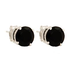 Groot rond onyx oorbellen in zilver
