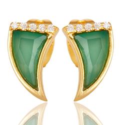Groene onyx oorsteker in verguld sterlingzilver