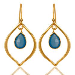 Schattige blauwe caledoniet oorbellen in verguld sterlingzilver