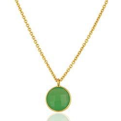 Rond groen ketting in verguld sterlingzilver met hanger in verguld sterlingzilver
