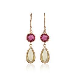 Elegante topaas oorbellen in zilver met een roze coating