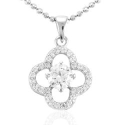 Schattig bloem hanger in zilver