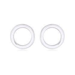Moderne rond oorsteker in zilver