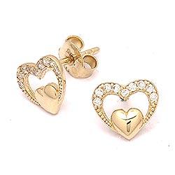 Dubbel hart oorsteker in 14 karaat goud met zirkoon