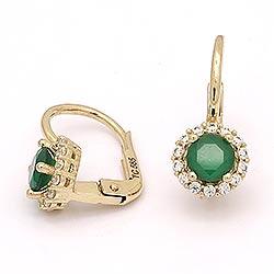 Rond gouden oorbellen in 14 karaat goud met synthetische smaragd en zirkonen