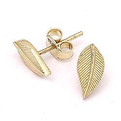 Mooi blad oorbellen in 14 karaat goud
