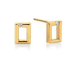 Mooi Kranz en Ziegler zirkoon oorbellen in 8 karaat goud witte zirkonen