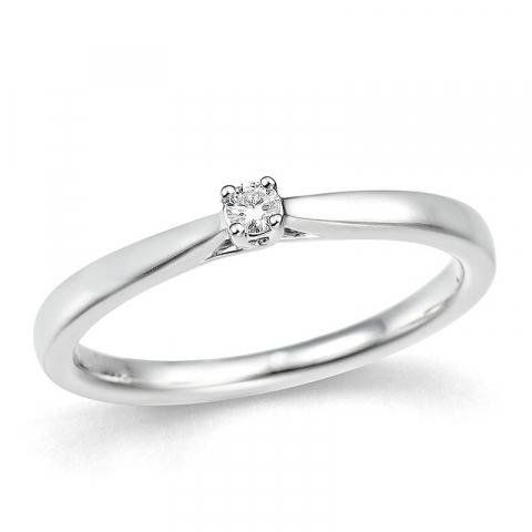 smal diamant witgouden ring in 14 karaat witgoud 0,057 ct