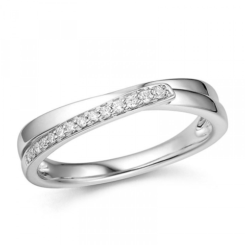 Mooi abstract diamant witgouden ring in 14 karaat witgoud 0,08 ct