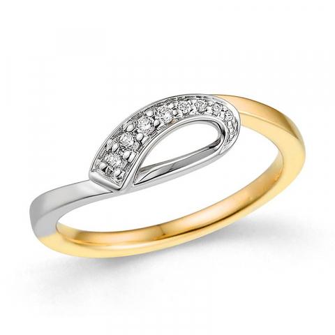 abstract diamant ring in 14 karaat goud-en witgoud 0,075 ct